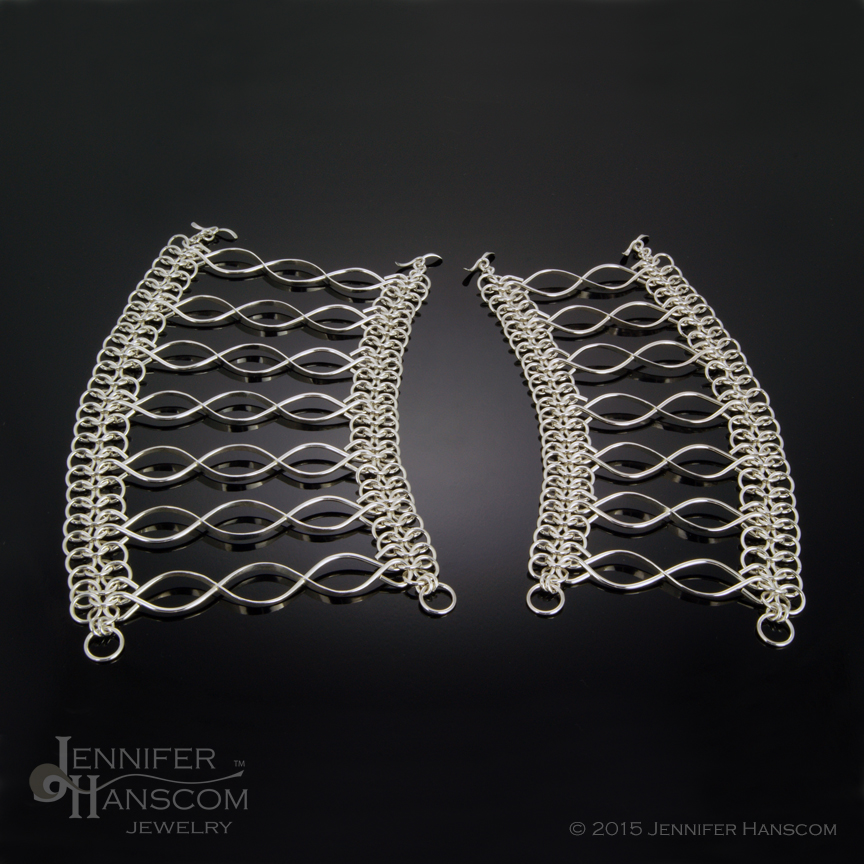 Wide Bracelets with chain-maille edging and links from our Crossing Paths Collection